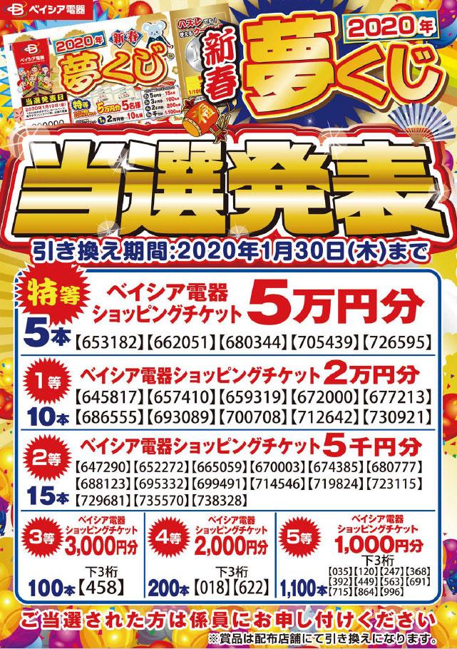 2020新春夢くじ当選発表