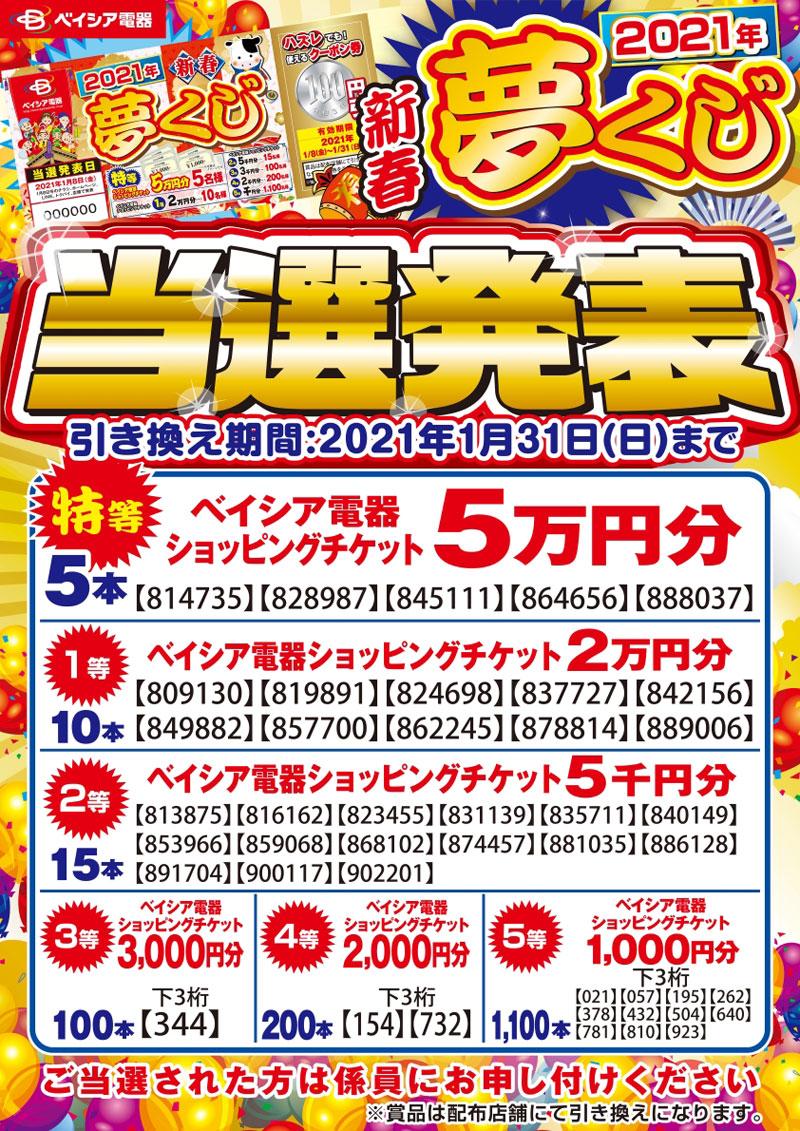 2021新春夢くじ当選発表